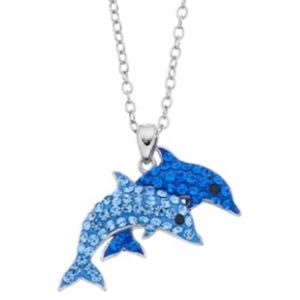 Crystal Double Dolphin Pendant Necklace